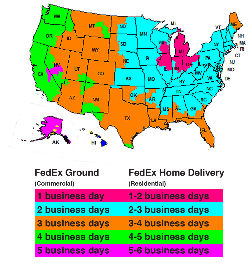 FedEx transit Times Map